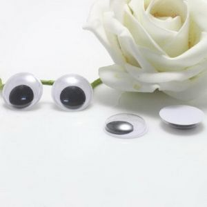 Eye embellishments, Plastic, white, black, 2.5cm x 3mm, 10 pieces, (HDY017)